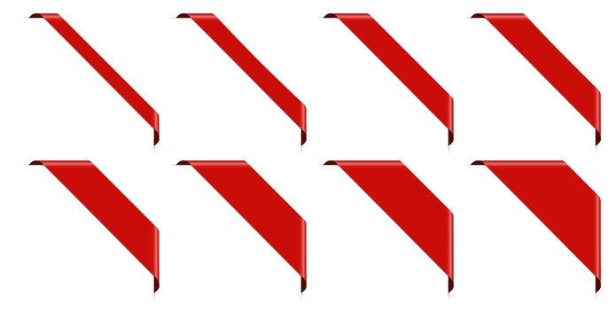 set of 8 red corner banner
