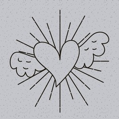 outline heart love with wings tattoo decoration