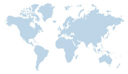 blue lines world map silhouette