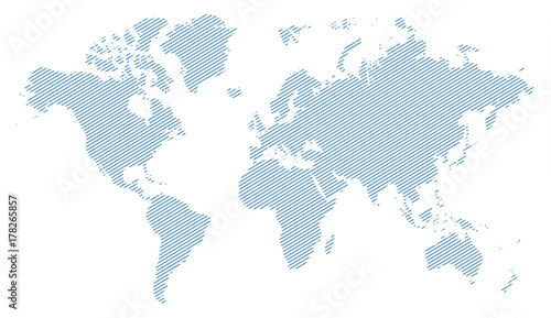 blue lines world map silhouette\