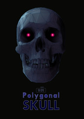 Low poly gray skull with wireframe on dark BG