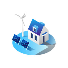 Green energy and eco friendly modern house. Solar panels and wind turbine generating electricity. Isometric vector illustration.