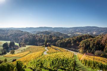 Herzstrasse in der Steiermark unter blauem Himmel