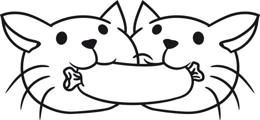 kämpfen streiten essen lecker hunger grillen schürze koch chef würstchen wurst 2 freunde team paar liebe romantisch verliebt hübsch süß niedlich katze kätzchen comic cartoon haustier