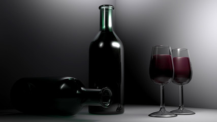 Two chalices of red wine are on a white table. Near of them there is an ampty bottle laying and a full one standing. 3D rendering