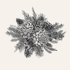 Winter Bouquet. Vintage vector illustration. Design elements. Happy New Year and Merry Christmas. Modern floristics