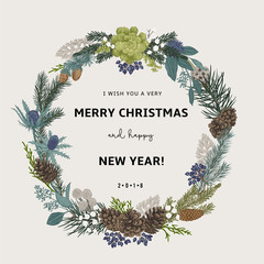 Vintage vector card. I Wish You A Very Merry Christmas And Happy New Year. The wreath of branches of different trees. Modern floristics. Colorful