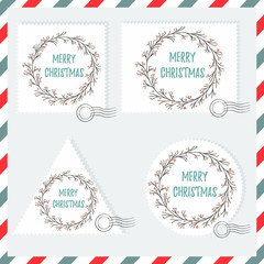 Set of Holiday backgrounds, stamps with decorative wreaths for Christmas or New Year