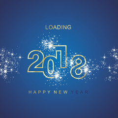 Happy New Year 2018 loading spark firework gold blue vector