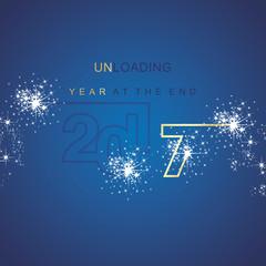 The End 2017 unloading spark firework gold blue background