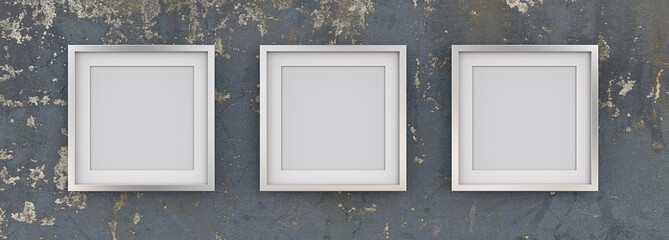 3 Square Picture Frames of Metal on Worn Blue Wall. Row of 3 Square Metal Frames on Blue worn grunge wall with white Passe-partout. Blank for Copy Space. 3D render.