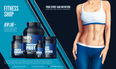 Cropped image of sexy beautiful young sportswoman in the sport tights and the bra, and set of bottles with sport nutrition. Vector illustration.
