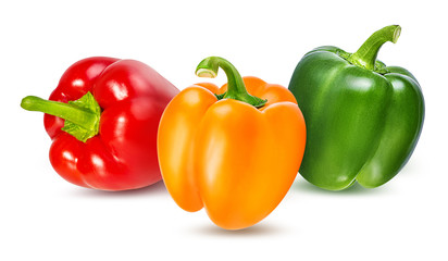 Red, green and yellow peppers  isolated.  With clipping path.
