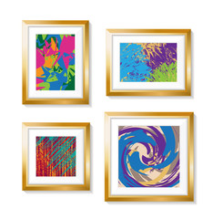 Set of Realistic Minimal Isolated Golden Frames with Abstract Art Scenes on White Background for Presentations . Vector Elements