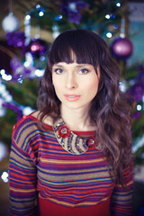 Beauty glamor Woman celebrating christmas, wearing a carnival .