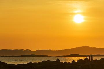 Three islands at sunset