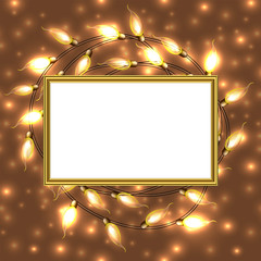 Keuken foto achterwand Theater Colorful Glowing Christmas Lights with frame and place for text.Vector elements can be used as backdrop or new Year card, invitation.