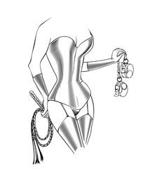 Decorative drawing in sketch style with sexy inked female body  legs in latex stockings and tight corset, holding the thong  handcuffs. Vector illustration isolated.