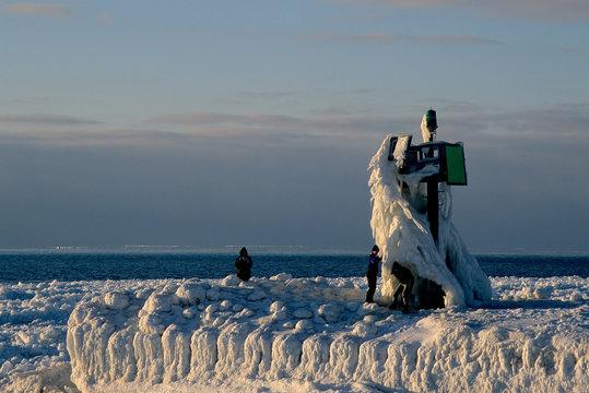 Ice covered naval signal at Lake Michigan