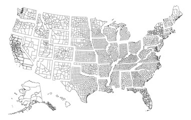 A vector map with all states in separate layers.