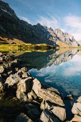 Truebsee mountain lake panorama at Titlis Engelberg in Switzerland