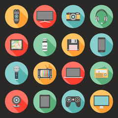 Technology flat design icons set