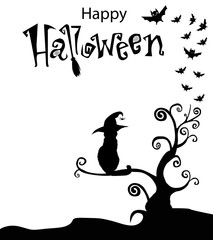 Black and white template with cat in witch hat sitting  on the curly branches tree with bats around and text happy halloween above. Happy halloween text banner, vector illustration.