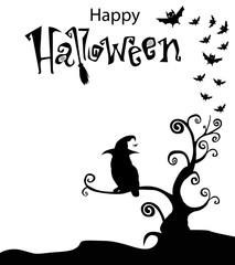 Black and white template with owl in witch hat sitting  on the curly branches tree with bats around and text happy halloween above. Happy halloween text banner, vector illustration.