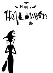 Happy halloween text banner, vector, card. Monochrome template of witch with broomstick  and text decorated with spiders, black cat, jack, witch hat and bats on white background with space for text.