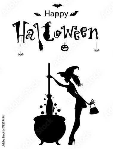 happy halloween text banner vector card monochrome template of