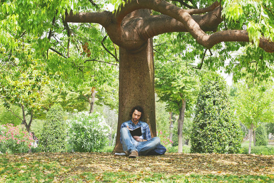 Young man writing on a notebook under a big tree of a park.