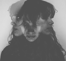 Multiple exposure portrait of a woman.