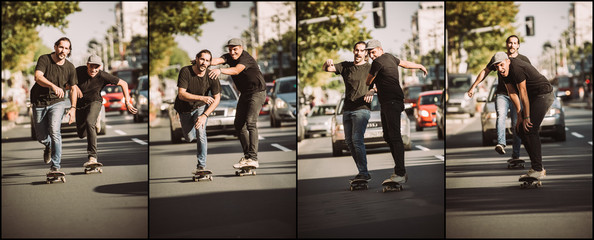 Two friends skateboarders riding skate sequence. Free ride skateboarding