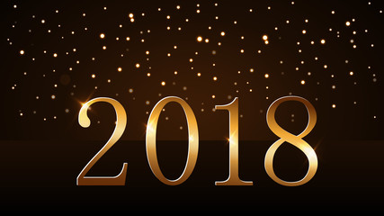 Happy New Year background. Magic gold rain on horizon. Golden numbers 2018. Christmas and New Year design light, glow sparkle, glitter. Symbol celebration. Luxury decoration Vector illustration