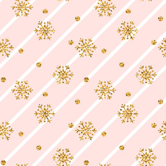 Christmas gold snowflake seamless pattern. Golden glitter snowflakes on pink white diagonal lines background. Winter snow design wallpaper Symbol holiday, New Year celebration Vector illustration