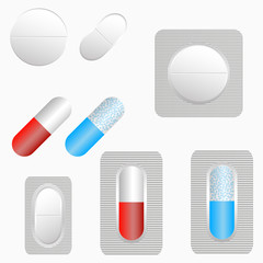 Pills, set of tablets and capsule. Medicines in blister pack. Vector illustration.