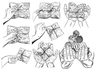 Set of hand gestures. Female hand opening christmas or valentines day gift wrap box, top view. Human open hands holding or giving gift box. Woman's hands unties to keep toys. Vector.