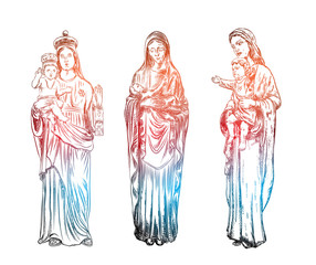 Set of Saint Mary holding baby Jesus Christ, son of God in her hands. Christmas nativity scene for holiday. Blackwork adult flesh tattoo concept. Vector.