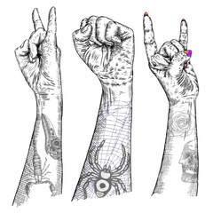 Set of Rock and Roll music hand sign. Hand drawn girl and guy style fist demon symbol. Female and male wrist evil finger gesture. Woman and man hands with flesh tattoos showing Satan sign. Vector.