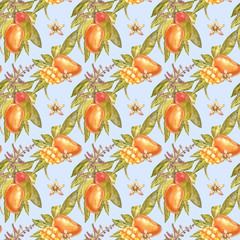 Mango tree vintage seamless pattern. Mango Fruit Watercolor botanical illustration.