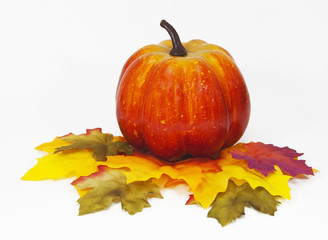 Pumpkin on decorative multicolored fall leaves against a white background.