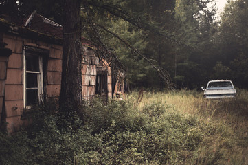 Dilapitated house in the woods