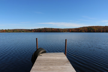 Dock on a Lake, Early Autumn View 1