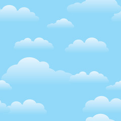 Seamless repeating pattern of fluffy white cartoon clouds on a sunny blue sky background
