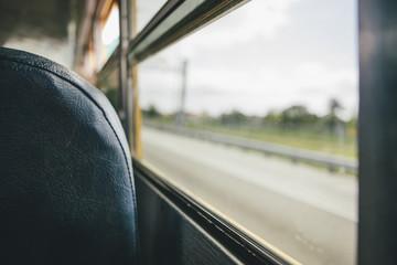 Window view in old school bus