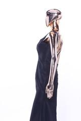 Metallic Mannequin, Shinny Reflection Model, Black Fashion Dress Evening Gown
