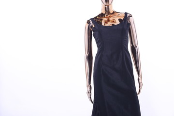 Metallic Mannequin, Shinny Reflection Model, Black Fashion Dress Evening Gown