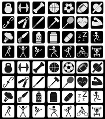 Set of sports and active lifestyle related icons in white-black and reversed colors