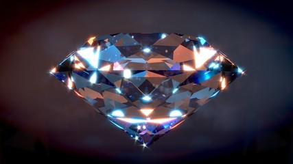 Big Shiny Diamond with dark background. 3D render.