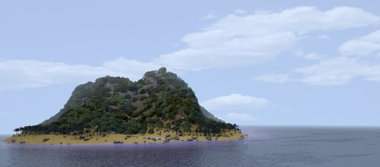 Fine island in the middle of an ocean. 3D rendering.